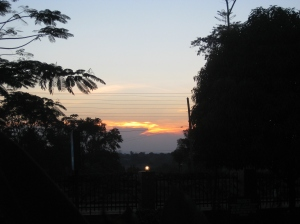 Beautiful sunset on our first full day in Masindi.