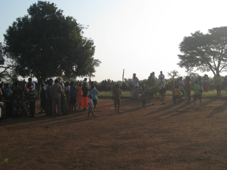 The line waiting for us in Katwetwe on day 2.