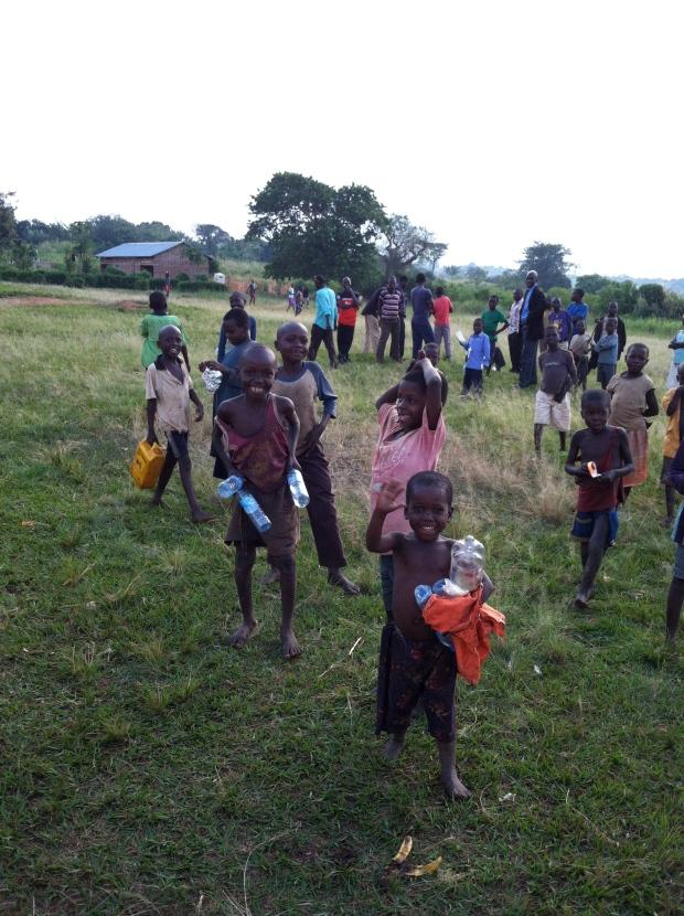 The kids waving good-bye as we left Biiso.