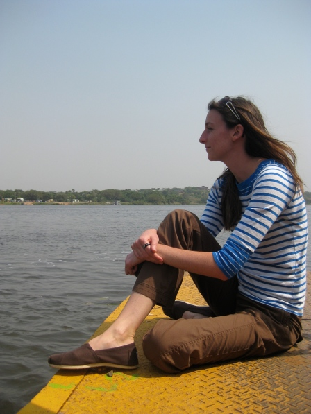 Kristen on the ferry crossing the Nile.
