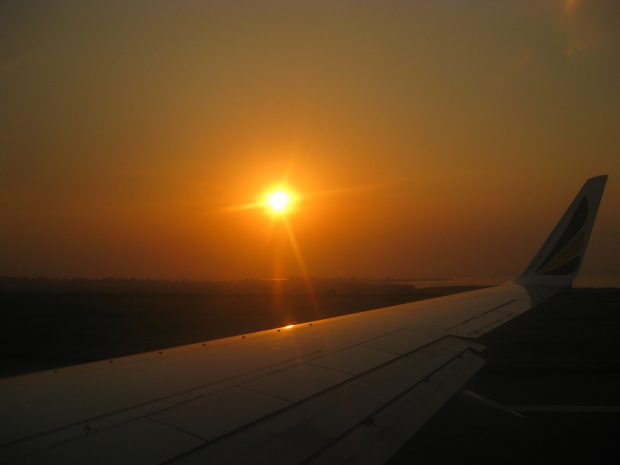 The sunset in Entebbe right before takeoff.