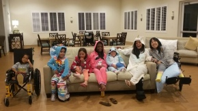 Sometimes we buy onesies and throw ourselves a pajama party.